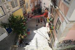 忧伤Vadio街道画在里斯本 库存照片