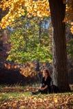 忧郁的妇女休息在树下 库存照片