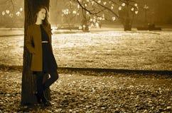 忧郁的秋天的美丽的女孩 免版税库存图片