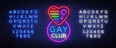 快乐俱乐部霓虹灯广告 在霓虹样式,轻的横幅,广告牌,快乐俱乐部的, lgbt,党夜明亮的广告的商标,快乐 库存图片