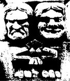 快乐和哀伤的面貌古怪的人石雕塑 向量例证