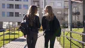 快乐地聊天两个时髦的年轻的女朋友看法后方有长发和时髦的背包的走城市和 影视素材