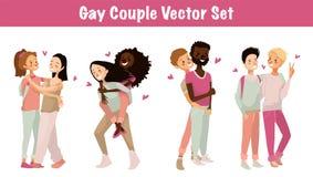 快乐夫妇传染媒介集合例证 在白色背景的被隔绝的逗人喜爱的同性恋夫妇 年轻同性恋者漫画人物设计  皇族释放例证