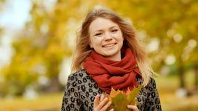 快乐摆在与五颜六色的叶子花束的照相机的一个女孩  在城市公园走在秋天 库存图片
