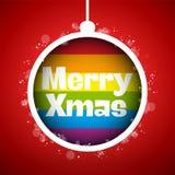 快乐旗子圣诞快乐球 向量例证