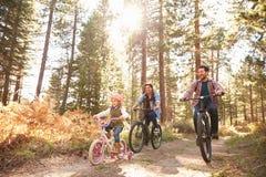 快乐男性加上循环通过秋天森林地的女儿 库存照片