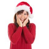快乐的亚裔圣诞节妇女 库存图片