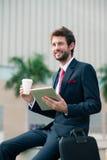 快乐的企业家 免版税库存照片
