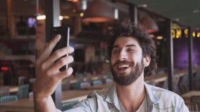 快乐的博客作者录影叫在咖啡馆 股票录像