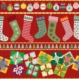 快乐的圣诞节长袜和礼物 向量例证