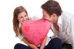 快乐的夫妇重点粉红色 免版税库存照片