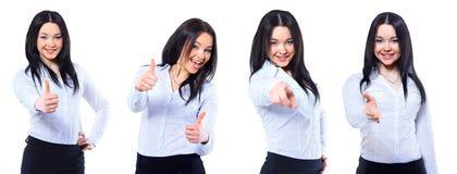 快乐的女商人照片的一汇集  库存图片
