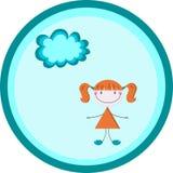快乐的女孩和一朵小的云彩在圈子 库存照片