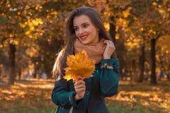 快乐的女孩在秋天公园在他的手看起来保留叶子去并且笑 免版税库存图片