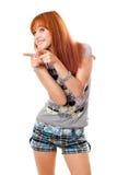 快乐的女孩纵向 免版税库存图片
