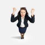 快乐的女实业家 免版税库存照片
