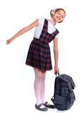 快乐的女小学生 免版税库存照片