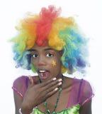 快乐的女性小丑 免版税库存图片