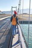 快乐的妇女在brige走在Jokulsarlon冰盐水湖 免版税图库摄影