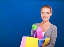 快乐的妇女清洗某事与小捆和浪花殷勤地 免版税库存图片