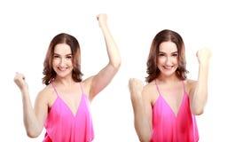 快乐的妇女用两只手 免版税图库摄影