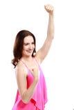 快乐的妇女用握紧的手 库存图片