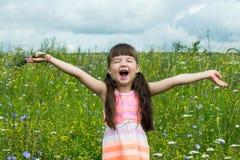 快乐的小女孩高兴和尖叫在草甸 图库摄影