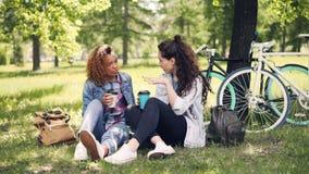 快乐的小姐与她非裔美国人的朋友和饮用的外卖咖啡谈话在好的绿色草坪的公园 股票录像