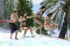 快乐的小组青年人在水中停放 免版税图库摄影