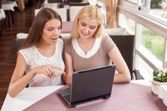 快乐的少妇在咖啡馆使用一台膝上型计算机 库存照片