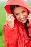 快乐的少年画象在雨中 免版税图库摄影