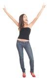 快乐的常设妇女年轻人 免版税图库摄影