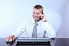快乐的总公司人电话 库存照片