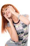 快乐的接近的女孩头发的纵向红色 免版税库存照片