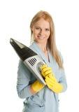 快乐的擦净剂手持式真空妇女 免版税库存照片