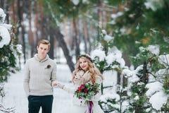 快乐的新娘和新郎在灰棕色被编织的套头衫在多雪的森林选择聚焦走在新娘 附庸风雅 库存图片