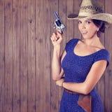 快乐的牛仔女孩 免版税库存照片