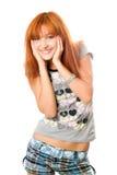 快乐的相当红发女孩纵向  免版税图库摄影