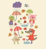 快乐的秋天逗人喜爱的秋天背景 免版税库存照片