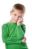 快乐的美丽的小男孩画象  库存照片