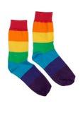 快乐的色的镶边袜子夫妇。 免版税库存照片