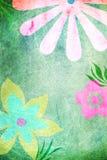 快乐的花绿色背景 免版税库存照片