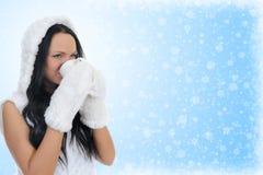 快乐的衣物帽子温暖的妇女 库存图片