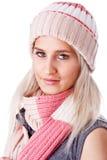 快乐的衣物帽子温暖的妇女 库存照片