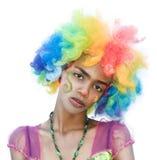 快乐的被损坏的女性小丑 库存照片