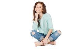 快乐的逗人喜爱的青少年的女孩17-18年,隔绝在一白色backgro 免版税库存照片