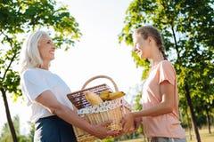 快乐的去妇女和她的孙女有一顿野餐在公园 库存图片