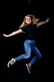 快乐的年轻白肤金发的跳舞 库存图片