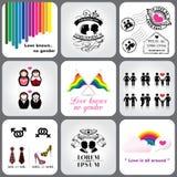 快乐&女同性恋的象和设计元素 免版税库存照片