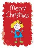 快活圣诞节的女孩 皇族释放例证